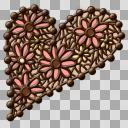【小物素材】チョコレースハートプレート【透過】