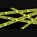 caution 立入禁止 テープが飛び出すアニメーション