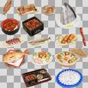 魚料理セット(3D・CG)