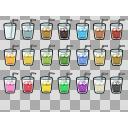 ガラスコップと色々飲み物2