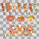 バーベキュー食材セット(3D・CG)