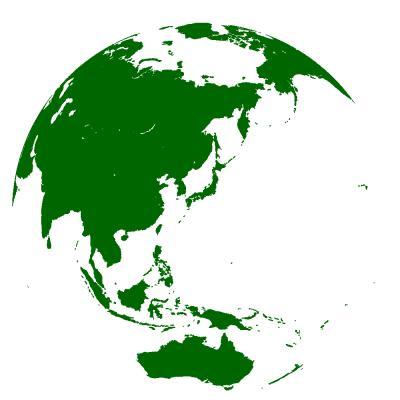 135E 30N(紀伊半島沖350km)中心の正射図法による世界地図