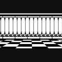 チェッカー柄の床と柵01