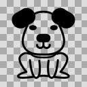 【モノクロアイコン】犬01