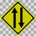 【透過素材】二方向交通【道路標識】