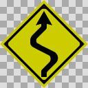 【透過素材】つづら折りあり【道路標識】