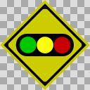 【透過素材】信号機あり【道路標識】