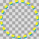 点線マル黄色水色