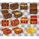 宝箱と財宝(3D・CG)