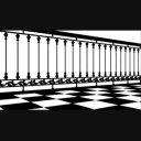 チェッカー柄の床と柵02