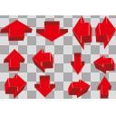 矢印 赤 4方向3サイズ